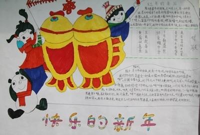 春节手抄报素材大全:快乐的新年