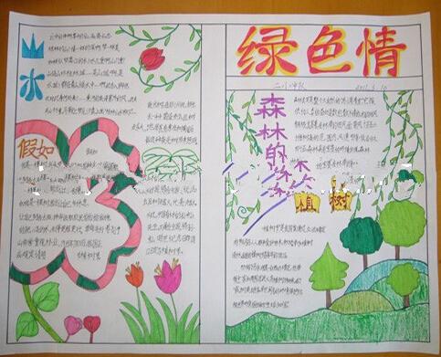 关于植树节的手抄报图片:绿色情