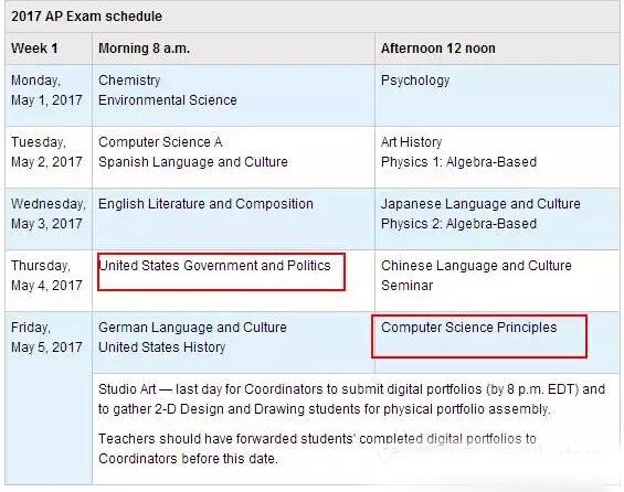 2017年AP考试时间表更新版