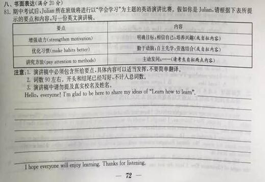 2016江苏南通中考英语作文题目