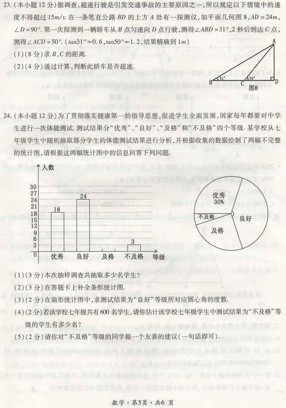 2016贵州六盘水中考数学试题