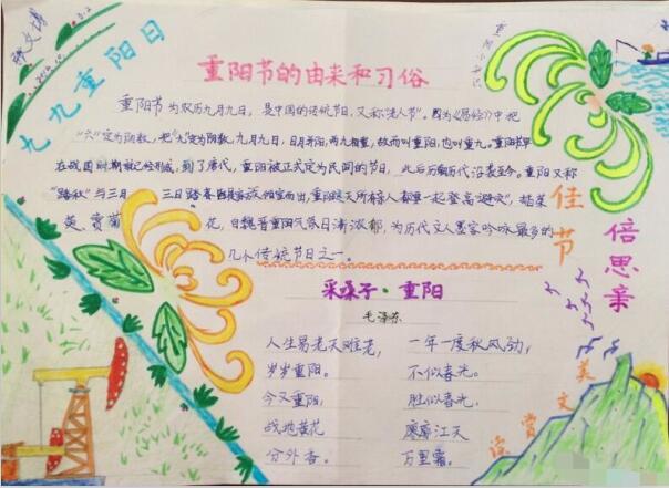 重阳节手抄报资料:九九重阳日图片