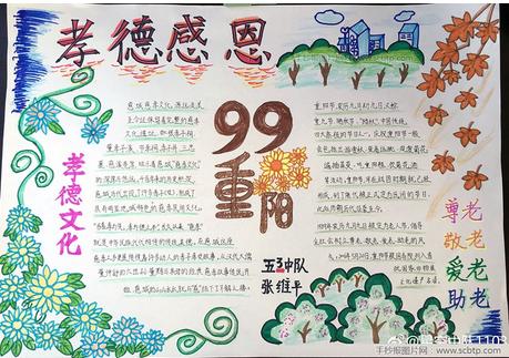 关于重阳节的手抄报图片 孝德感恩