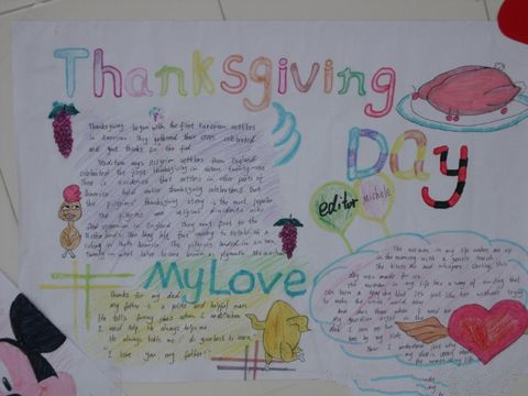 感恩节英语手抄报 美好的感恩节图片