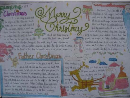小学圣诞节英语手抄报 圣诞节