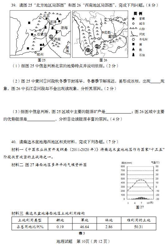 山东青岛2017中考地理试题及答案