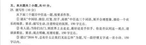 2017北京海淀区高三期末语文微写作