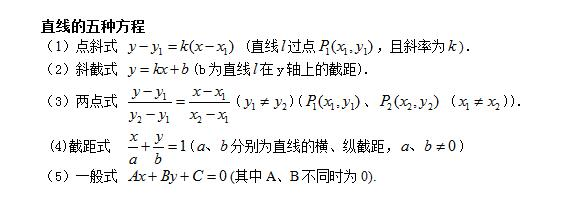 直线的五种方程
