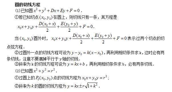 高考数学公式:圆的切线方程
