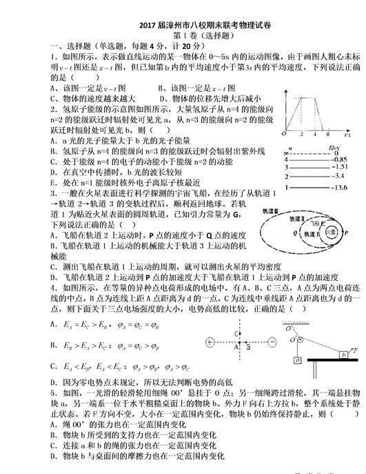 2017福建漳州八校高三期末物理试题及答案