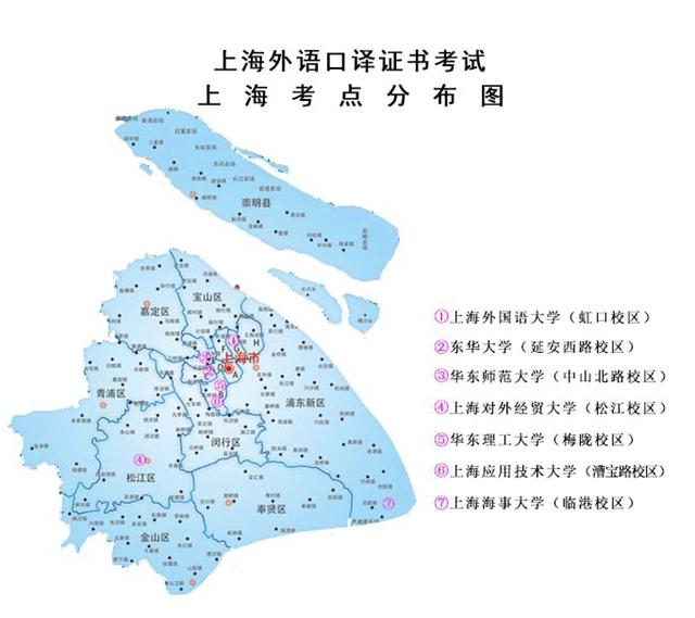 上海外语口译证书考试考点分布图
