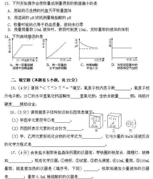 2017初中化学竞赛试题及答案