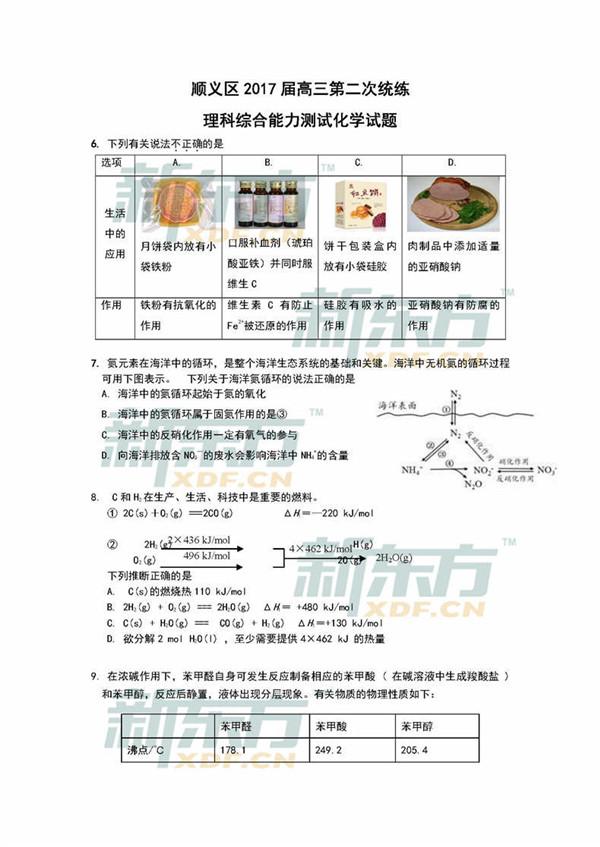 2017北京顺义区新高一模化学试题及答案对中的感想高三图片