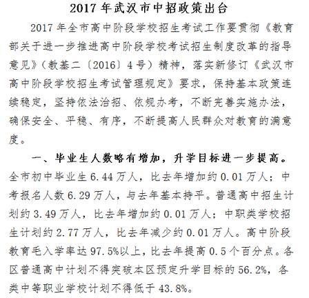 湖北武汉2017中考报名人数