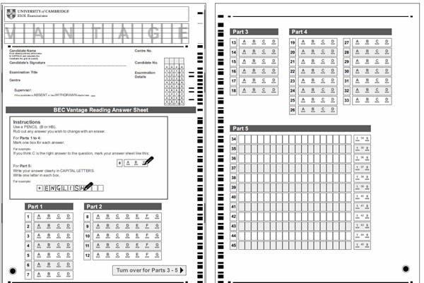 BEC商务英语考试答题卡填写规范