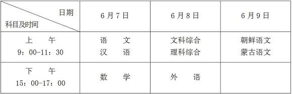 2017年黑龙江高考考试科目时间安排