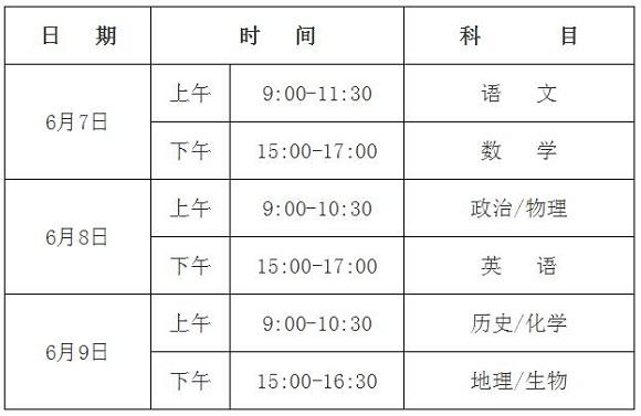 2017年海南高考科目及时间安排:6月7日-9日