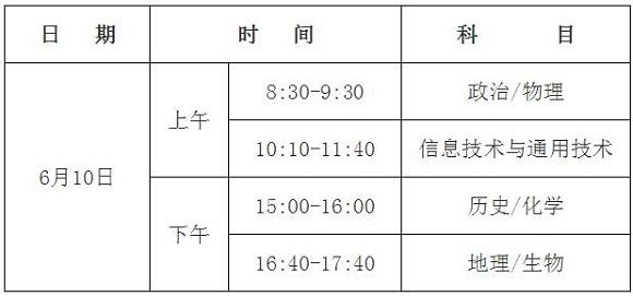 2017年海南高中基础会考考试科目及时间安排