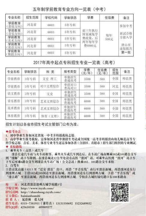 唐山幼儿师范高等专科学校2017年招生简章