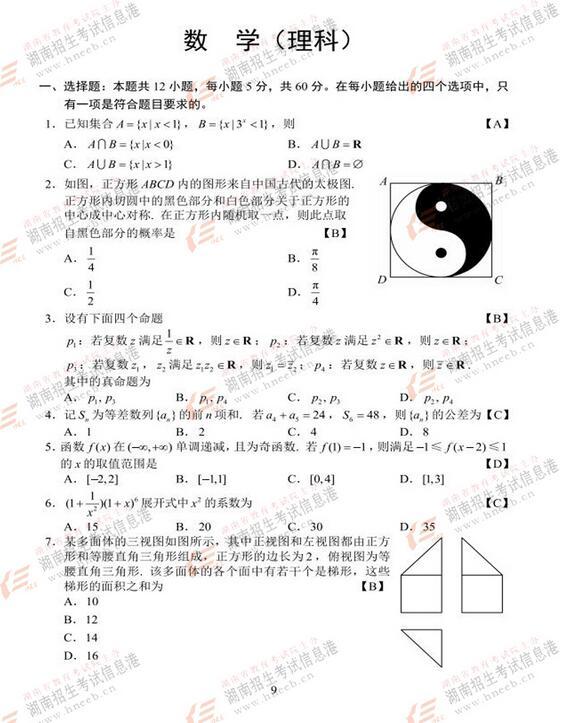 2017年新课标全国I卷高考理科数学试题及答案