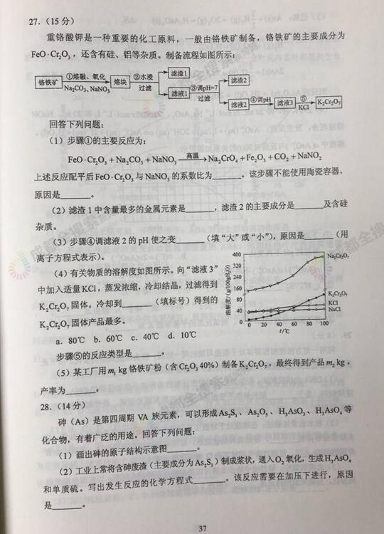 2017四川高考理综试题及答案公布 官方版