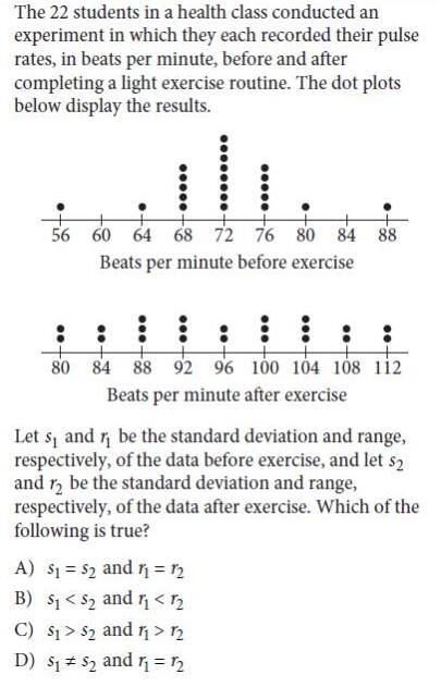 SAT数学统计考点练习题:距离/标准偏差