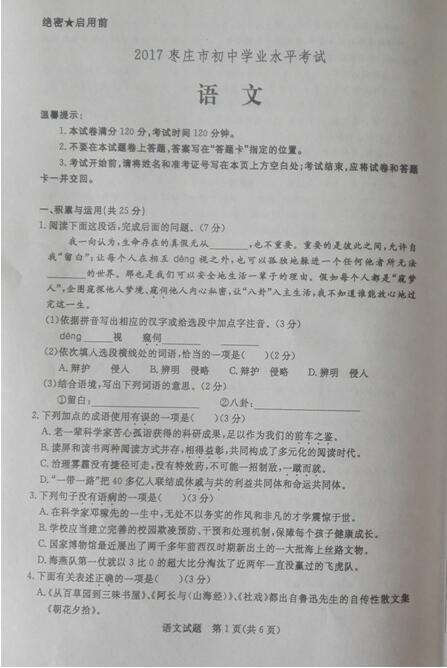 山东枣庄2017中考语文试题及答案