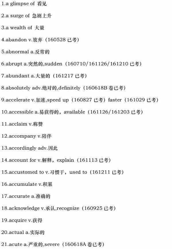2017年6月25日托福词汇预测(网友版)