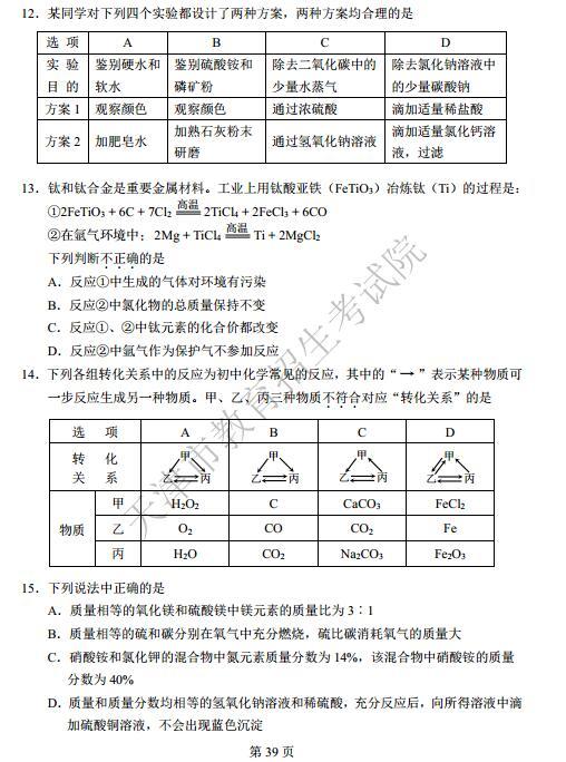 天津2017中考化学试题及答案
