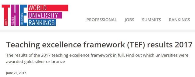 2017年英国大学TEF教学质量排名