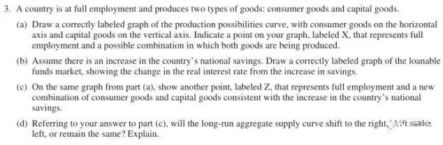 2017年AP宏观经济学真题解析:第三题