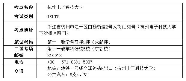 雅思考试在浙江省增设杭州电子科技大学考点