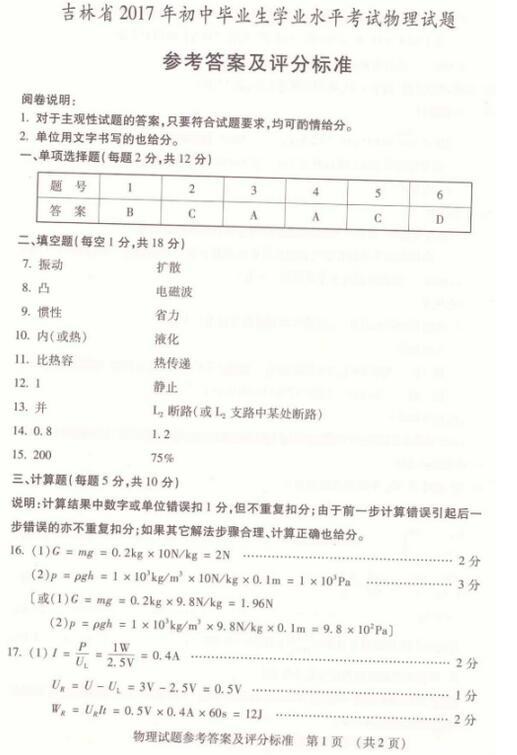 吉林省考2017中考物理答案