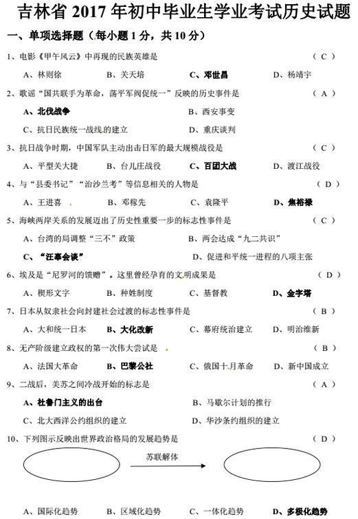吉林省考2017中考历史试题