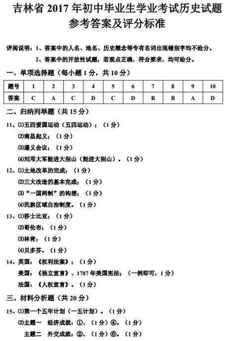 吉林省考2017中考历史答案
