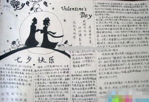 关于七夕节的手抄报:七夕快乐
