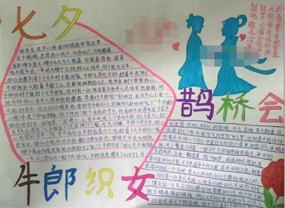 关于七夕节的手抄报资料:牛郎织女鹊桥会