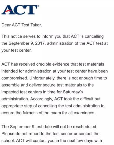 9月ACT考试取消的原因及解答