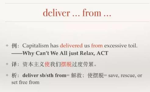 托福词汇:deliver from的用法