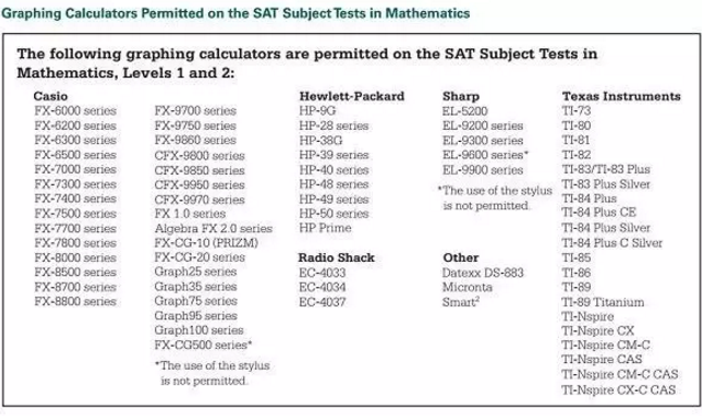 SAT2考试考场上计算器使用要求