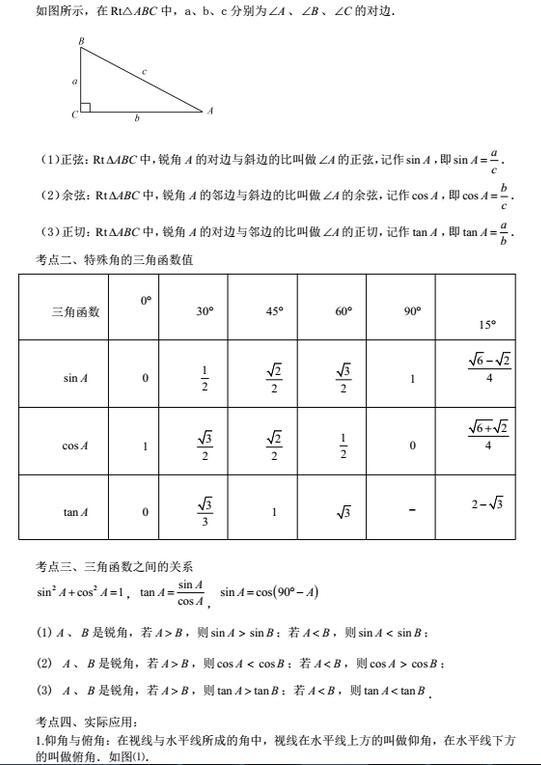 2018届初三数学第一次月考知识点梳理(锐角三角函数)