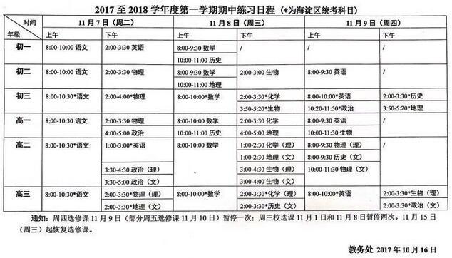 2017-2018学年北京海淀区初二第一学期期中考试时间