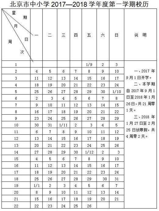 2018北京中小学寒假放假时间:1月27日至2月25日