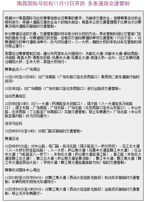 南昌托福考生注意:国际马拉松期间道路交通管制