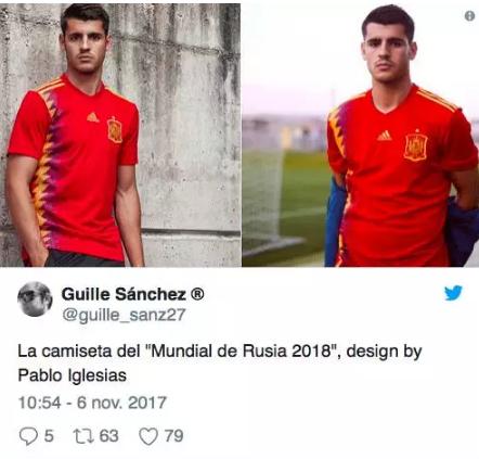 2018世界杯西班牙新版球衣引争议(组图)