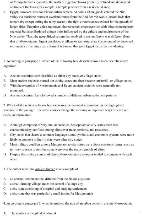 新托福阅读题目:美索不达米亚和埃及