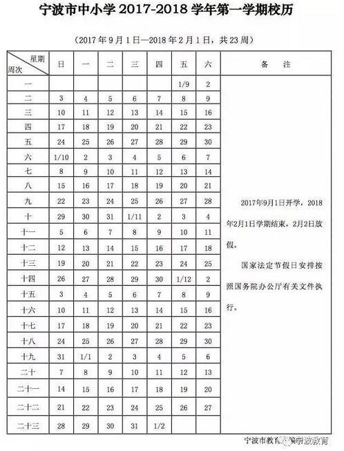 浙江宁波2018中小学寒假放假时间:2月2日-2月25日