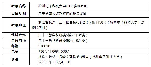 杭州电子科技大学增加用于英国签证及移民的雅思考试考点