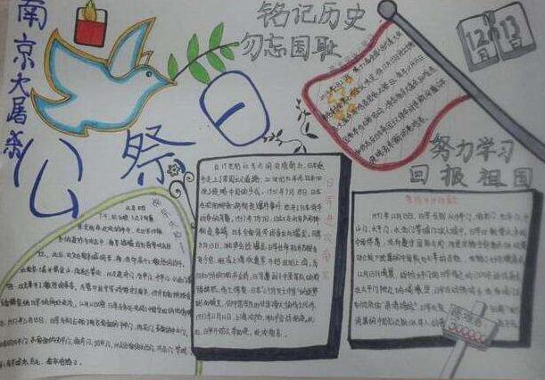 南京大屠杀手抄报图片资料:铭记历史