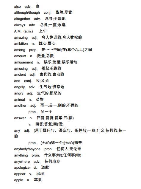 2018年上海中考英语必备词汇